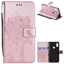 Embossing Butterfly Tree Leather Wallet Case for Mi Xiaomi Redmi Note 6 - Rose Pink