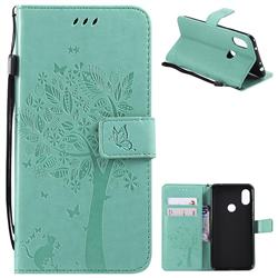 Embossing Butterfly Tree Leather Wallet Case for Mi Xiaomi Redmi Note 6 - Cyan