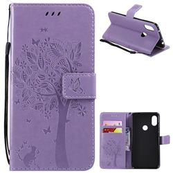 Embossing Butterfly Tree Leather Wallet Case for Mi Xiaomi Redmi Note 6 - Violet