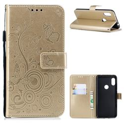 Intricate Embossing Butterfly Circle Leather Wallet Case for Mi Xiaomi Redmi Note 6 - Champagne