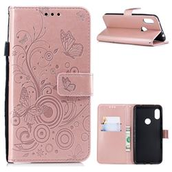 Intricate Embossing Butterfly Circle Leather Wallet Case for Mi Xiaomi Redmi Note 6 - Rose Gold