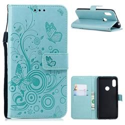Intricate Embossing Butterfly Circle Leather Wallet Case for Mi Xiaomi Redmi Note 6 - Cyan