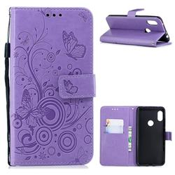 Intricate Embossing Butterfly Circle Leather Wallet Case for Mi Xiaomi Redmi Note 6 - Purple