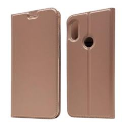 Ultra Slim Card Magnetic Automatic Suction Leather Wallet Case for Mi Xiaomi Redmi Note 6 - Rose Gold