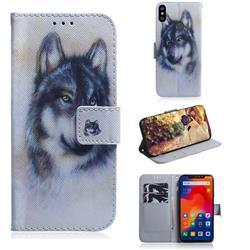 Snow Wolf PU Leather Wallet Case for Mi Xiaomi Redmi Note 6