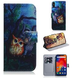 Oil Painting Owl PU Leather Wallet Case for Mi Xiaomi Redmi Note 6