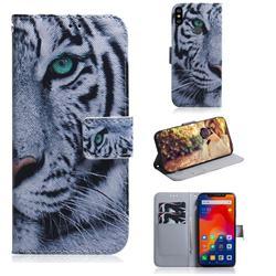 White Tiger PU Leather Wallet Case for Mi Xiaomi Redmi Note 6