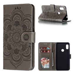 Intricate Embossing Datura Solar Leather Wallet Case for Mi Xiaomi Redmi Note 6 - Gray