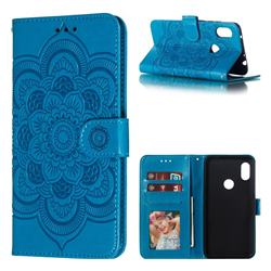 Intricate Embossing Datura Solar Leather Wallet Case for Mi Xiaomi Redmi Note 6 - Blue