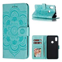 Intricate Embossing Datura Solar Leather Wallet Case for Mi Xiaomi Redmi Note 6 - Green