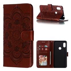 Intricate Embossing Datura Solar Leather Wallet Case for Mi Xiaomi Redmi Note 6 - Brown