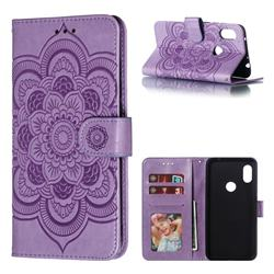 Intricate Embossing Datura Solar Leather Wallet Case for Mi Xiaomi Redmi Note 6 - Purple