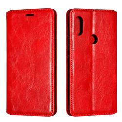 Retro Slim Magnetic Crazy Horse PU Leather Wallet Case for Mi Xiaomi Redmi Note 6 - Red