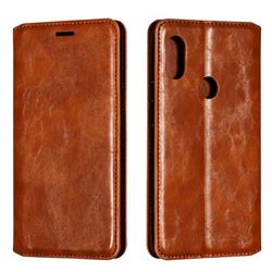 Retro Slim Magnetic Crazy Horse PU Leather Wallet Case for Mi Xiaomi Redmi Note 6 - Brown