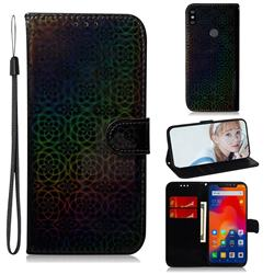 Laser Circle Shining Leather Wallet Phone Case for Mi Xiaomi Redmi Note 6 - Black