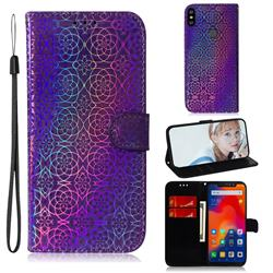 Laser Circle Shining Leather Wallet Phone Case for Mi Xiaomi Redmi Note 6 - Purple