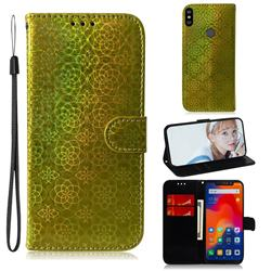 Laser Circle Shining Leather Wallet Phone Case for Mi Xiaomi Redmi Note 6 - Golden