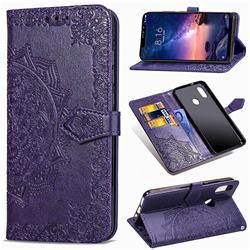 Embossing Imprint Mandala Flower Leather Wallet Case for Mi Xiaomi Redmi Note 6 - Purple