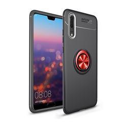 Auto Focus Invisible Ring Holder Soft Phone Case for Mi Xiaomi Redmi Note 6 Pro - Black Red