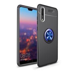 Auto Focus Invisible Ring Holder Soft Phone Case for Mi Xiaomi Redmi Note 6 Pro - Black Blue