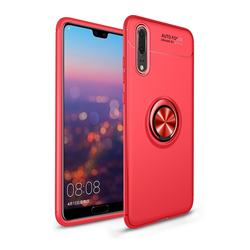 Auto Focus Invisible Ring Holder Soft Phone Case for Mi Xiaomi Redmi Note 6 Pro - Red