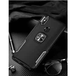 Knight Armor Anti Drop PC + Silicone Invisible Ring Holder Phone Cover for Mi Xiaomi Redmi Note 6 Pro - Black