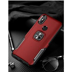 Knight Armor Anti Drop PC + Silicone Invisible Ring Holder Phone Cover for Mi Xiaomi Redmi Note 6 Pro - Red