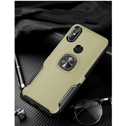 Knight Armor Anti Drop PC + Silicone Invisible Ring Holder Phone Cover for Mi Xiaomi Redmi Note 6 Pro - Champagne