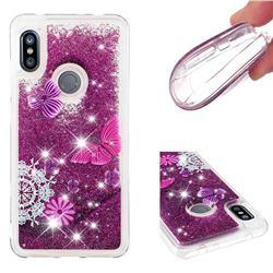 Purple Flower Butterfly Dynamic Liquid Glitter Quicksand Soft TPU Case for Mi Xiaomi Redmi Note 6 Pro