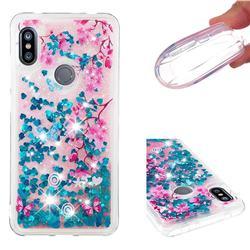 Blue Plum Blossom Dynamic Liquid Glitter Quicksand Soft TPU Case for Mi Xiaomi Redmi Note 6 Pro
