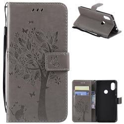 Embossing Butterfly Tree Leather Wallet Case for Mi Xiaomi Redmi Note 6 Pro - Grey