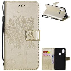Embossing Butterfly Tree Leather Wallet Case for Mi Xiaomi Redmi Note 6 Pro - Champagne