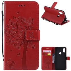 Embossing Butterfly Tree Leather Wallet Case for Mi Xiaomi Redmi Note 6 Pro - Red