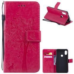 Embossing Butterfly Tree Leather Wallet Case for Mi Xiaomi Redmi Note 6 Pro - Rose