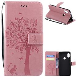 Embossing Butterfly Tree Leather Wallet Case for Mi Xiaomi Redmi Note 6 Pro - Pink