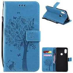 Embossing Butterfly Tree Leather Wallet Case for Mi Xiaomi Redmi Note 6 Pro - Blue