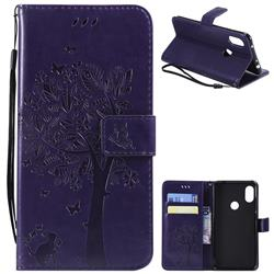 Embossing Butterfly Tree Leather Wallet Case for Mi Xiaomi Redmi Note 6 Pro - Purple