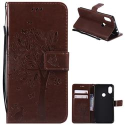 Embossing Butterfly Tree Leather Wallet Case for Mi Xiaomi Redmi Note 6 Pro - Coffee