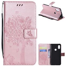 Embossing Butterfly Tree Leather Wallet Case for Mi Xiaomi Redmi Note 6 Pro - Rose Pink