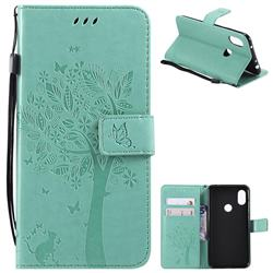 Embossing Butterfly Tree Leather Wallet Case for Mi Xiaomi Redmi Note 6 Pro - Cyan