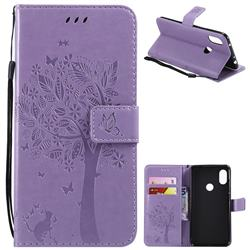 Embossing Butterfly Tree Leather Wallet Case for Mi Xiaomi Redmi Note 6 Pro - Violet