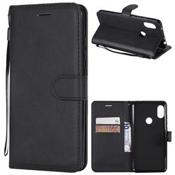 Retro Greek Classic Smooth PU Leather Wallet Phone Case for Mi Xiaomi Redmi Note 6 Pro - Black