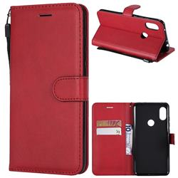 Retro Greek Classic Smooth PU Leather Wallet Phone Case for Mi Xiaomi Redmi Note 6 Pro - Red