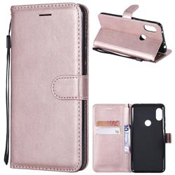 Retro Greek Classic Smooth PU Leather Wallet Phone Case for Mi Xiaomi Redmi Note 6 Pro - Rose Gold