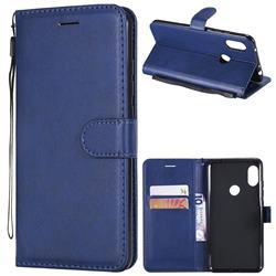 Retro Greek Classic Smooth PU Leather Wallet Phone Case for Mi Xiaomi Redmi Note 6 Pro - Blue