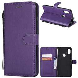 Retro Greek Classic Smooth PU Leather Wallet Phone Case for Mi Xiaomi Redmi Note 6 Pro - Purple