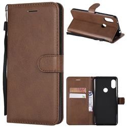 Retro Greek Classic Smooth PU Leather Wallet Phone Case for Mi Xiaomi Redmi Note 6 Pro - Brown