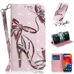 Butterfly High Heels 3D Painted Leather Wallet Phone Case for Mi Xiaomi Redmi Note 6 Pro