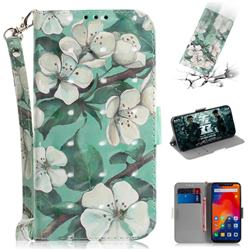 Watercolor Flower 3D Painted Leather Wallet Phone Case for Mi Xiaomi Redmi Note 6 Pro