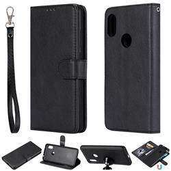 Retro Greek Detachable Magnetic PU Leather Wallet Phone Case for Mi Xiaomi Redmi Note 6 Pro - Black